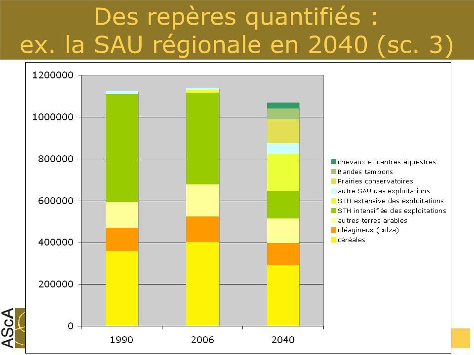 Des repères quantifiés : ex. la SAU régionale en 2040 (sc. 3)