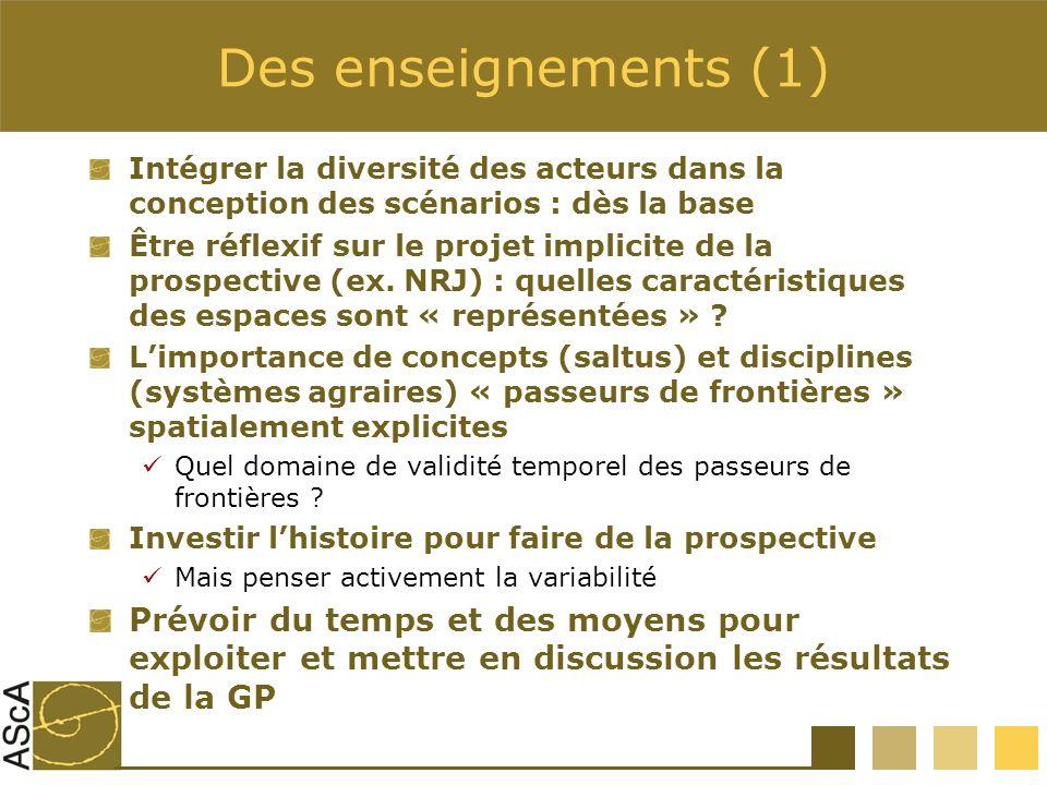 Des enseignements (1) Intégrer la diversité des acteurs dans la conception des scénarios : dès la base.
