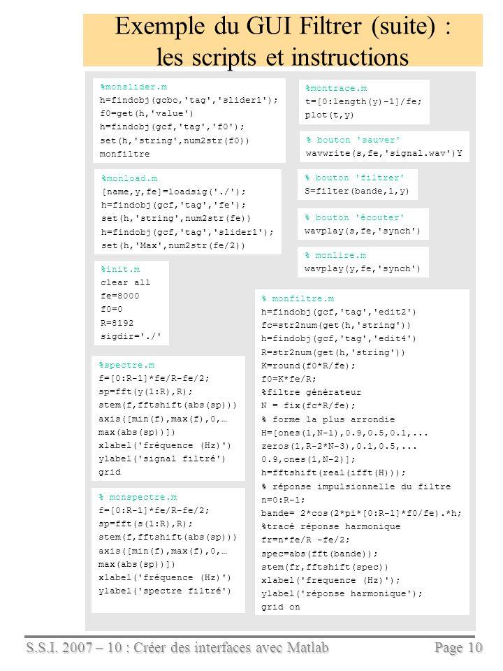 Exemple du GUI Filtrer (suite) : les scripts et instructions