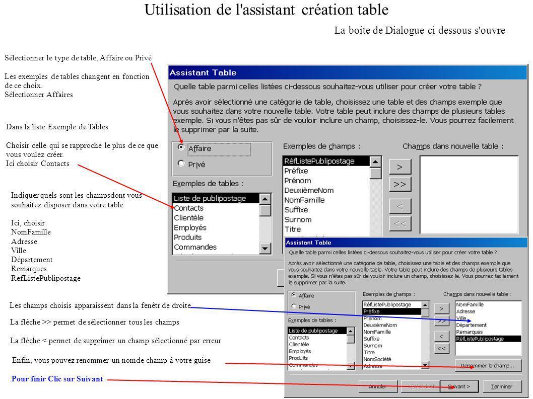Utilisation de l assistant création table