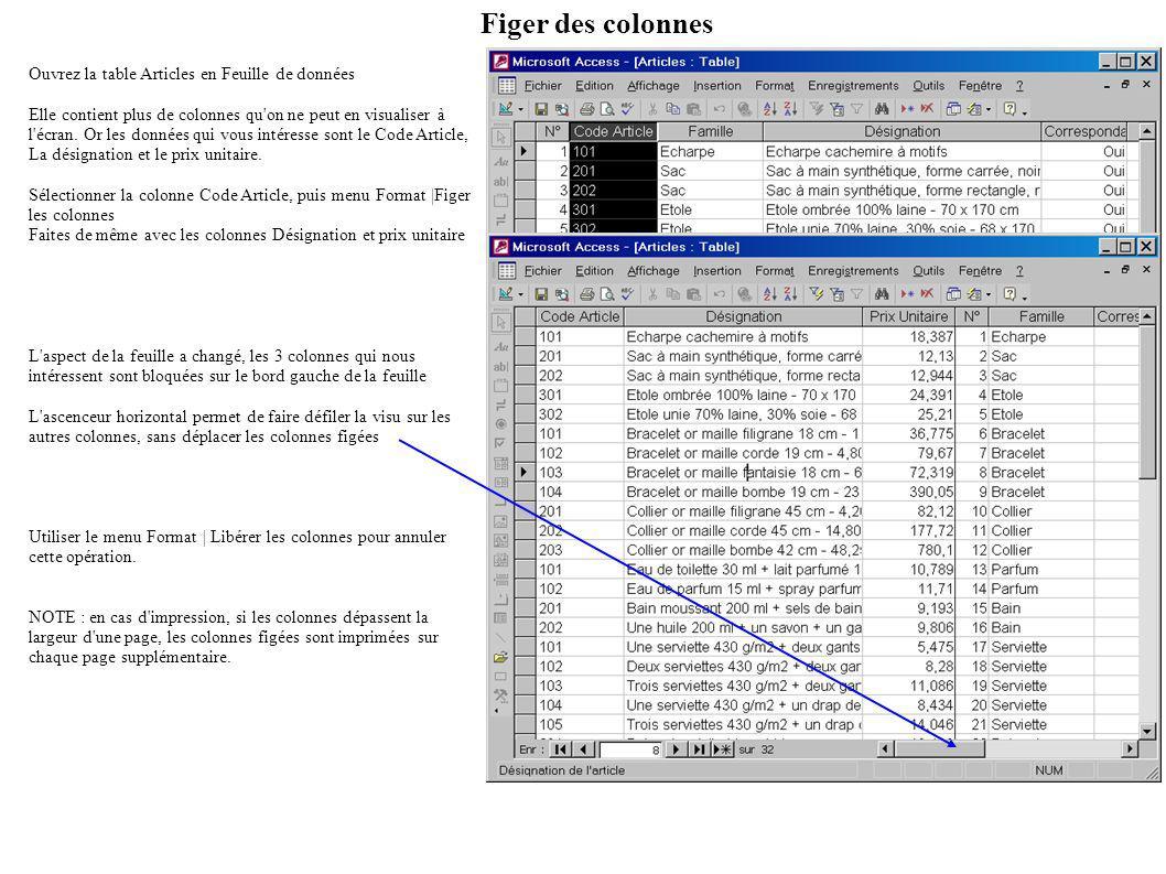 Figer des colonnes Ouvrez la table Articles en Feuille de données