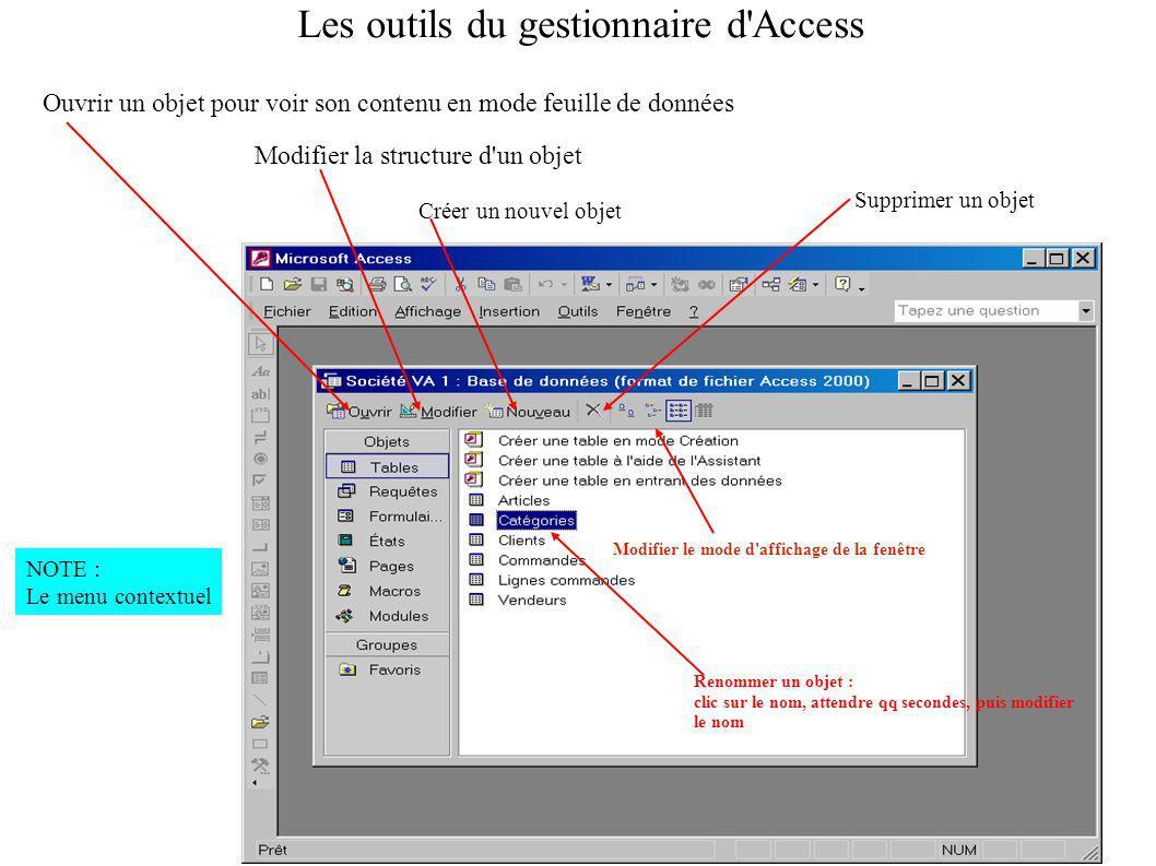 Les outils du gestionnaire d Access
