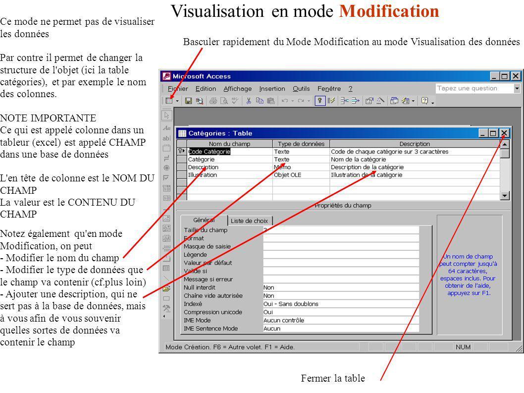 Visualisation en mode Modification