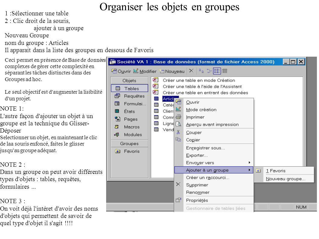 Organiser les objets en groupes