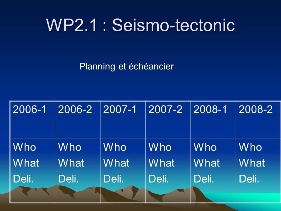WP2.1 : Seismo-tectonic 2006-1 2006-2 2007-1 2007-2 2008-1 2008-2 Who