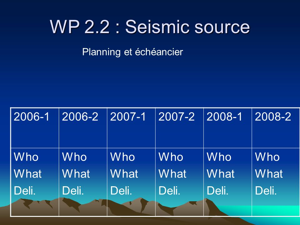 WP 2.2 : Seismic source 2006-1 2006-2 2007-1 2007-2 2008-1 2008-2 Who