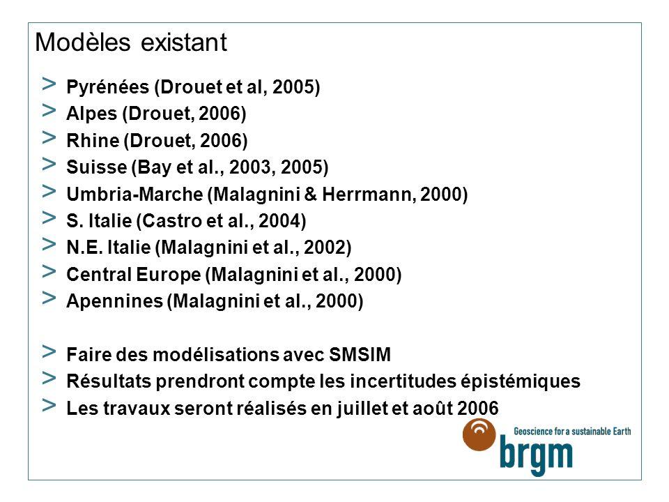 Modèles existant Pyrénées (Drouet et al, 2005) Alpes (Drouet, 2006)