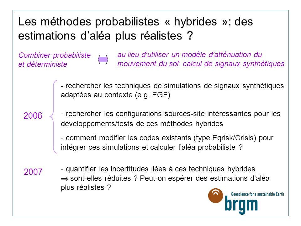 Les méthodes probabilistes « hybrides »: des estimations d'aléa plus réalistes