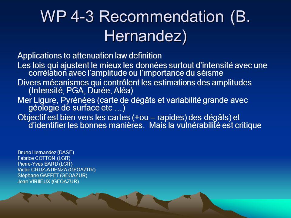WP 4-3 Recommendation (B. Hernandez)