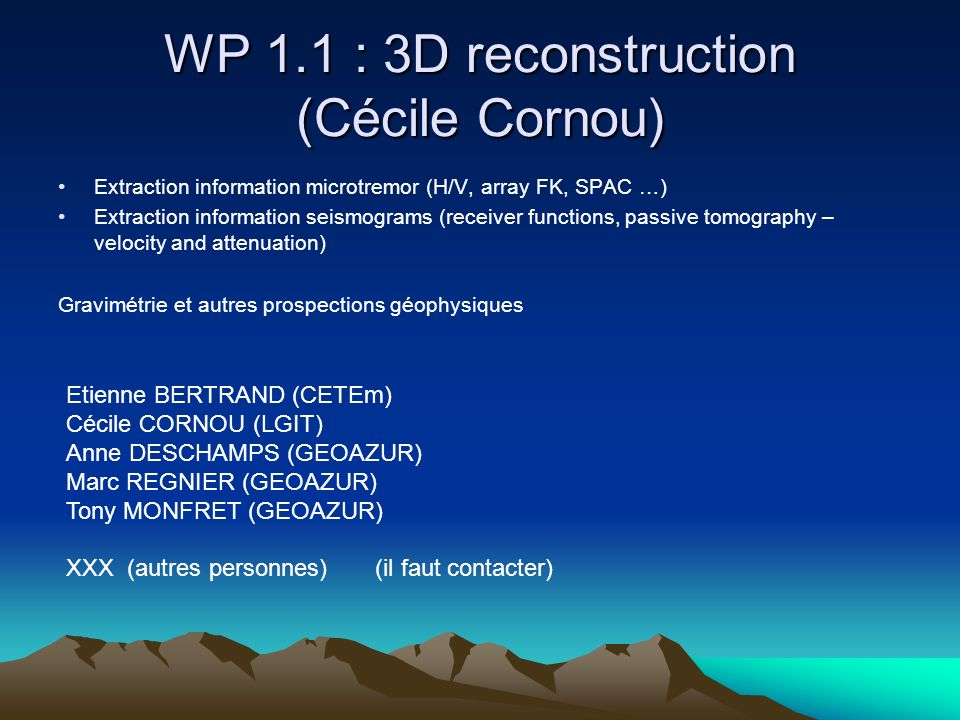 WP 1.1 : 3D reconstruction (Cécile Cornou)