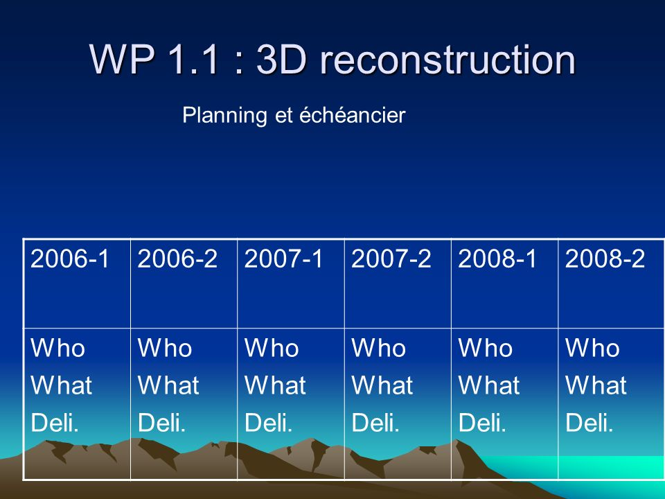 WP 1.1 : 3D reconstruction 2006-1 2006-2 2007-1 2007-2 2008-1 2008-2