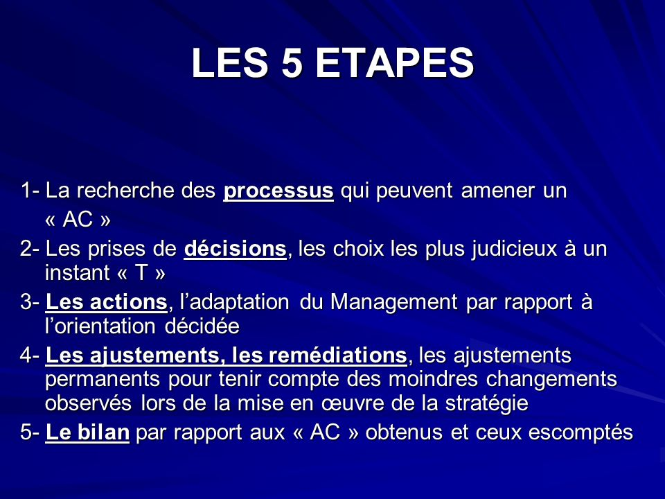 LES 5 ETAPES 1- La recherche des processus qui peuvent amener un