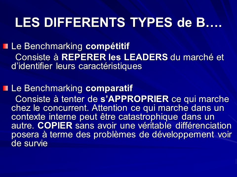 LES DIFFERENTS TYPES de B….