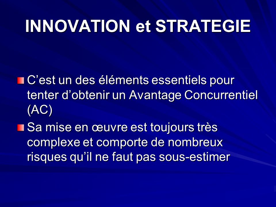 INNOVATION et STRATEGIE