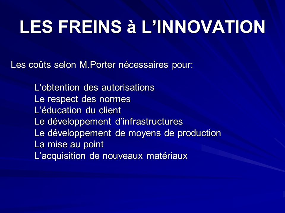 LES FREINS à L'INNOVATION