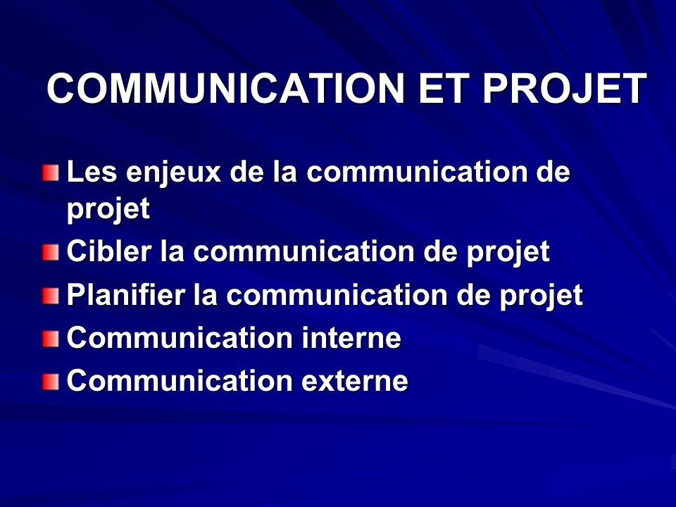 COMMUNICATION ET PROJET