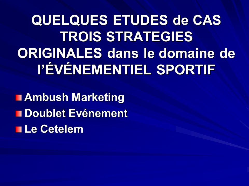 QUELQUES ETUDES de CAS TROIS STRATEGIES ORIGINALES dans le domaine de l'ÉVÉNEMENTIEL SPORTIF