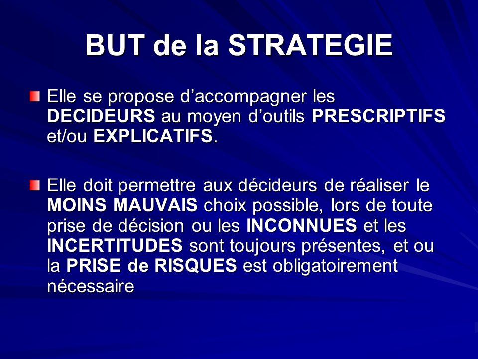 BUT de la STRATEGIE Elle se propose d'accompagner les DECIDEURS au moyen d'outils PRESCRIPTIFS et/ou EXPLICATIFS.