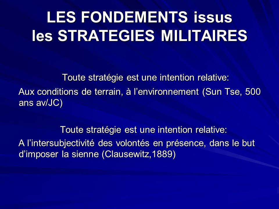 LES FONDEMENTS issus les STRATEGIES MILITAIRES