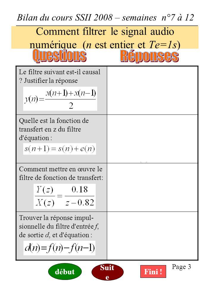 Comment filtrer le signal audio numérique (n est entier et Te=1s)