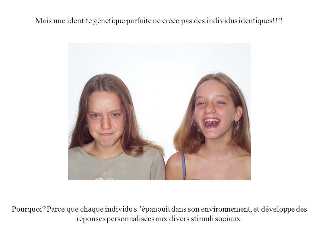 Mais une identité génétique parfaite ne créée pas des individus identiques!!!!