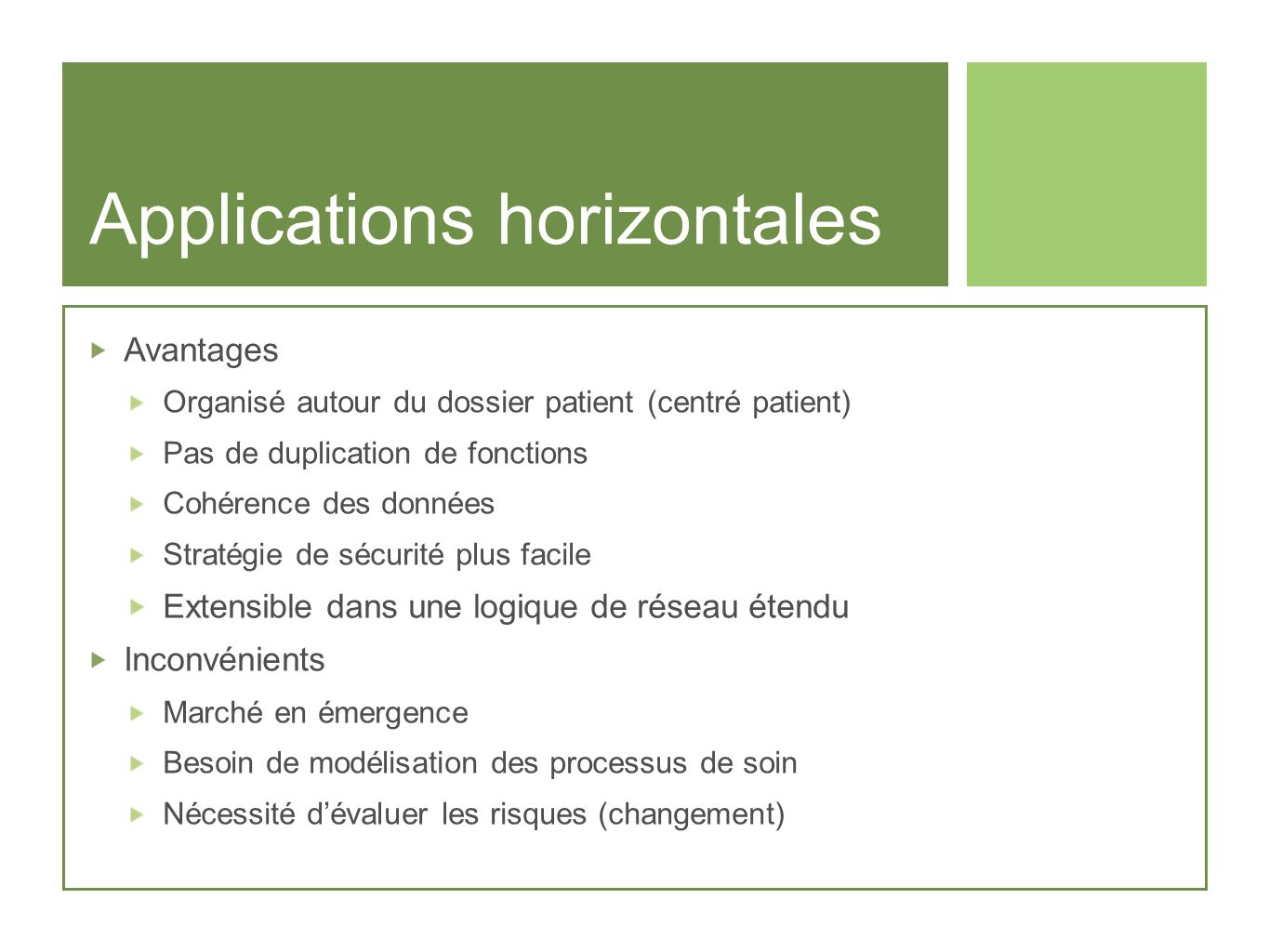 Applications horizontales