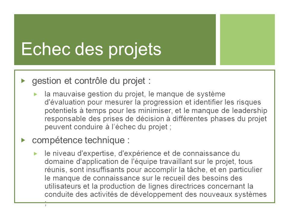 Echec des projets gestion et contrôle du projet :