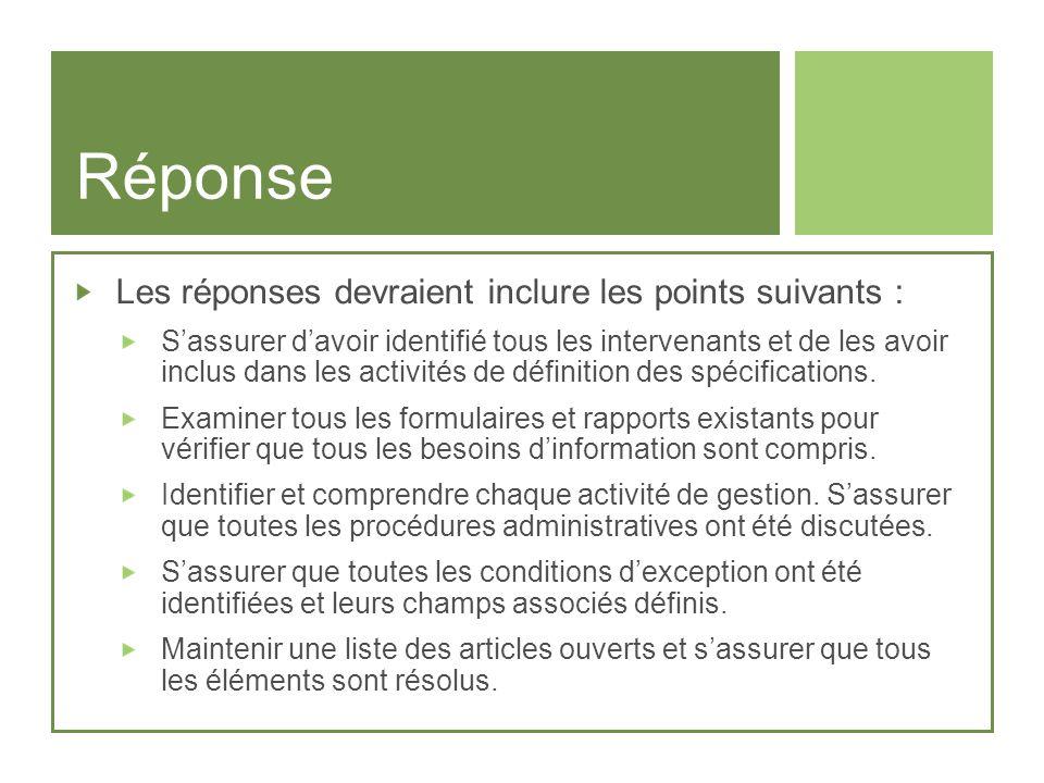 Réponse Les réponses devraient inclure les points suivants :