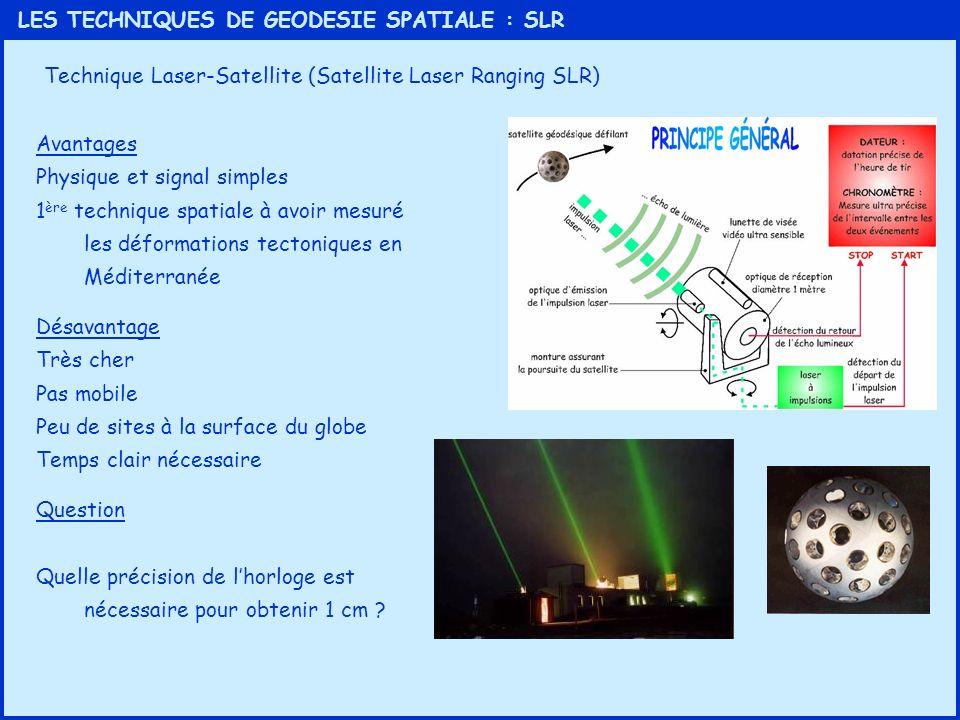 LES TECHNIQUES DE GEODESIE SPATIALE : SLR