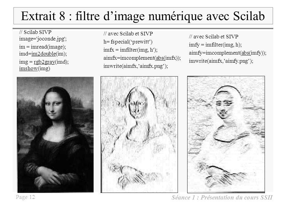 Extrait 8 : filtre d'image numérique avec Scilab