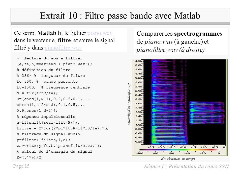 Extrait 10 : Filtre passe bande avec Matlab