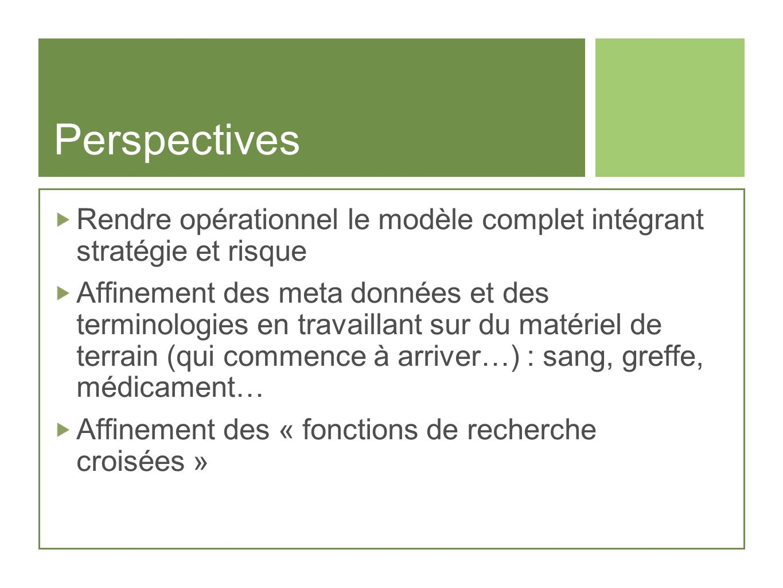 Perspectives Rendre opérationnel le modèle complet intégrant stratégie et risque.