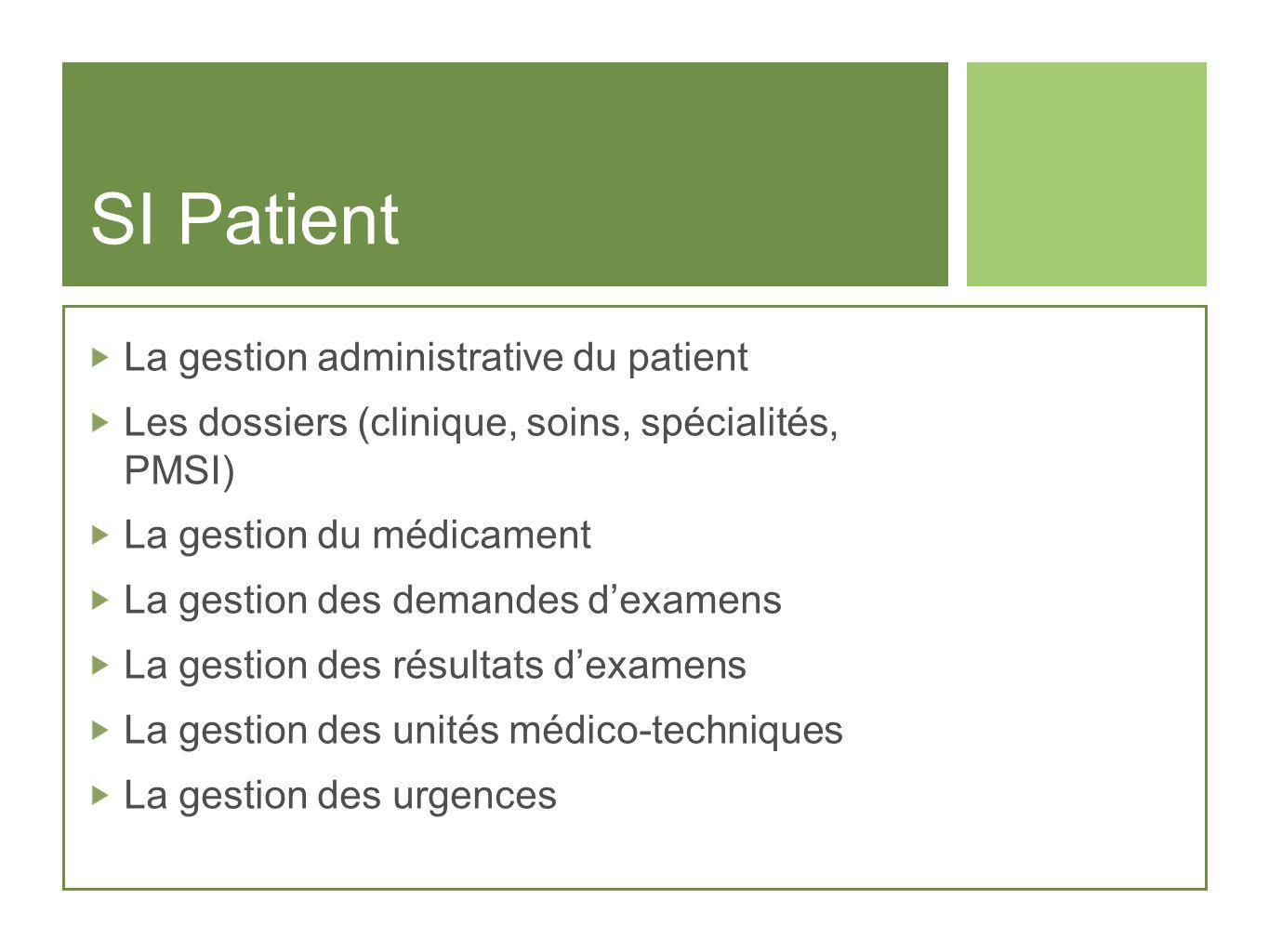 SI Patient La gestion administrative du patient