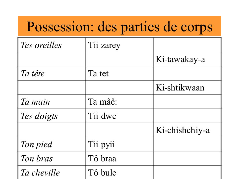 Possession: des parties de corps