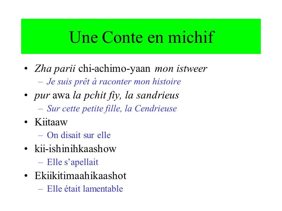 Une Conte en michif Zha parii chi-achimo-yaan mon istweer