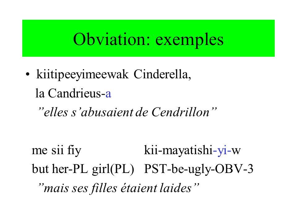 Obviation: exemples kiitipeeyimeewak Cinderella, la Candrieus-a