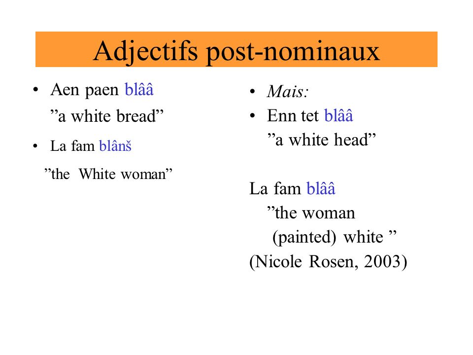 Adjectifs post-nominaux