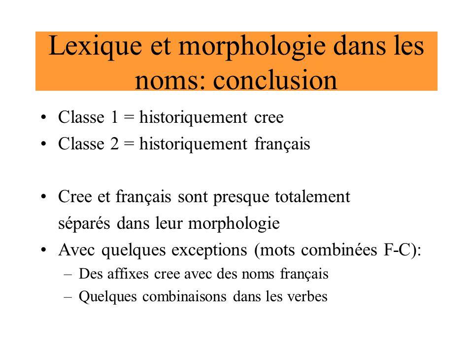 Lexique et morphologie dans les noms: conclusion