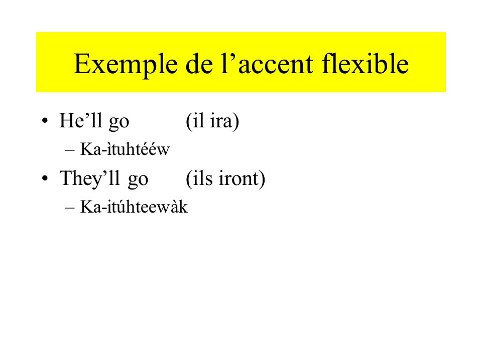 Exemple de l'accent flexible