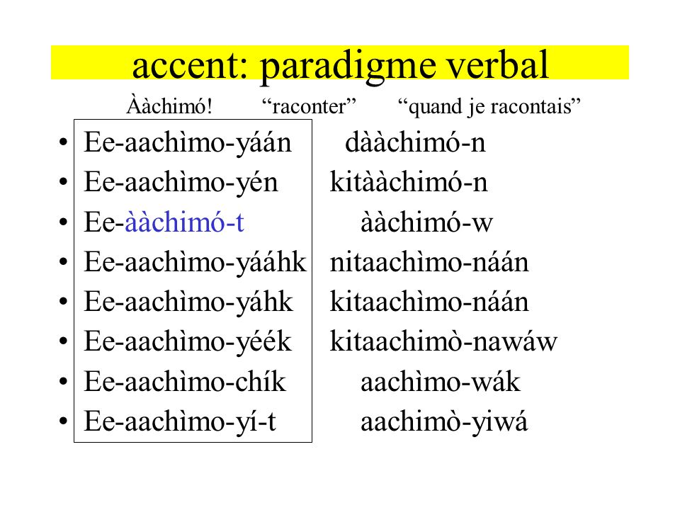 accent: paradigme verbal