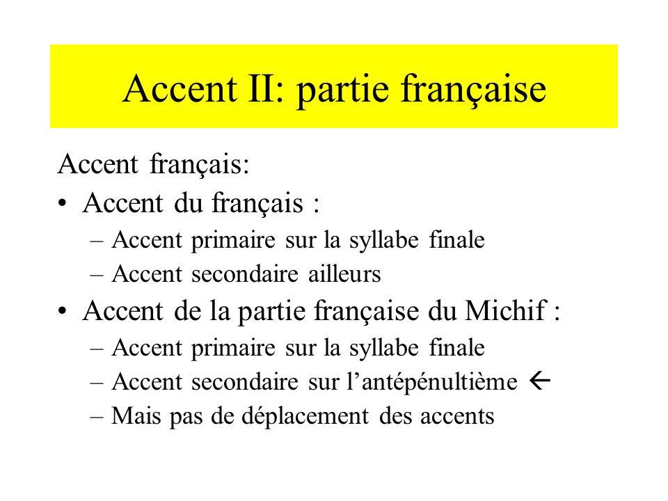 Accent II: partie française