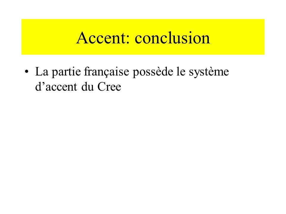Accent: conclusion La partie française possède le système d'accent du Cree