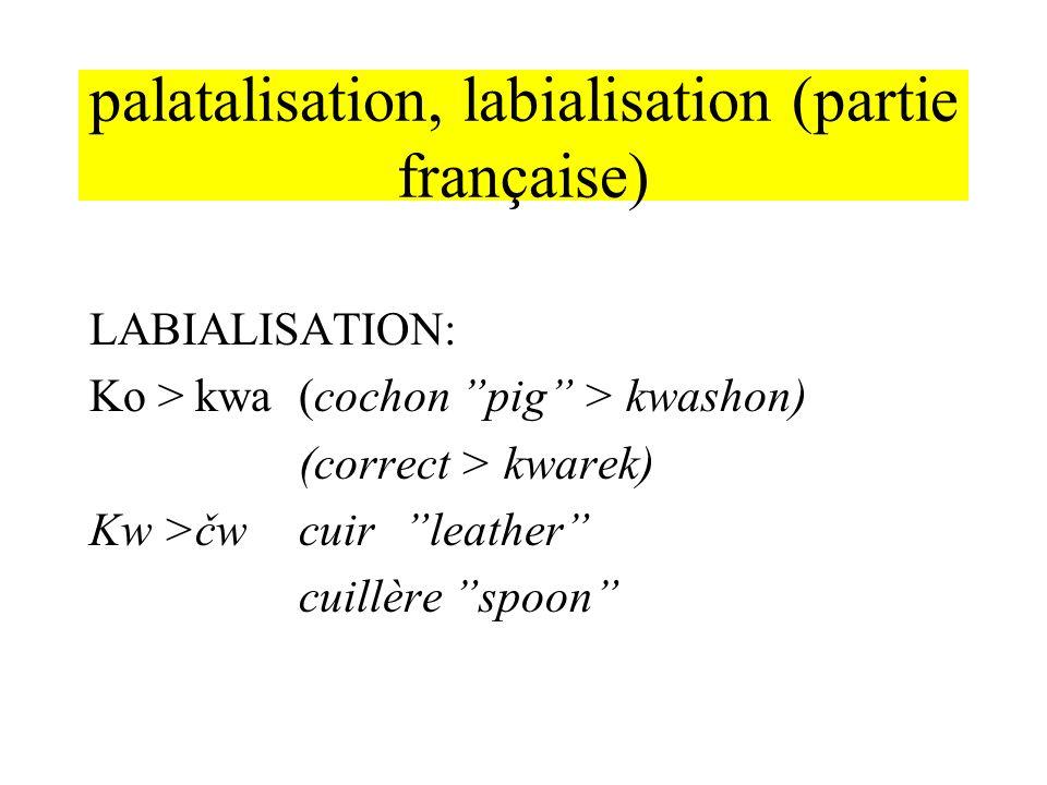palatalisation, labialisation (partie française)