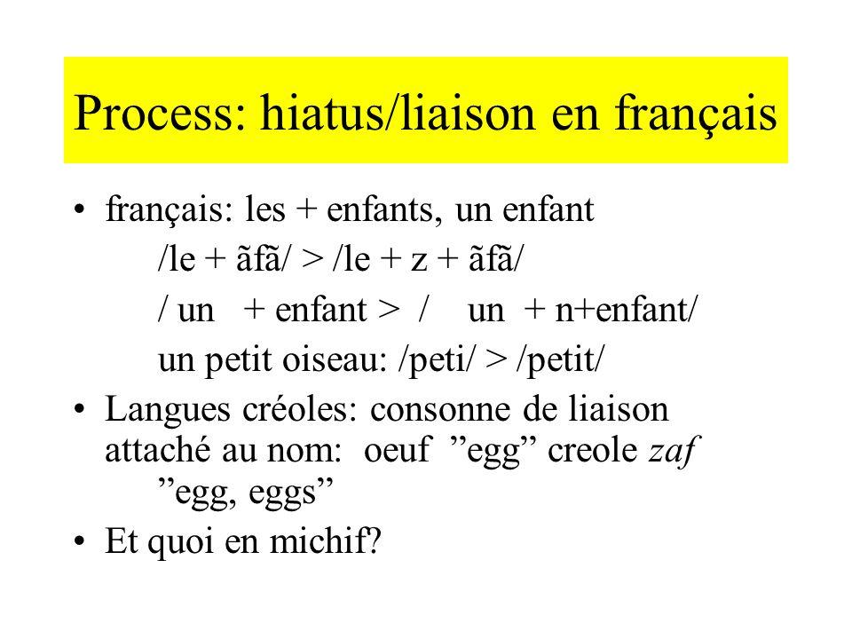 Process: hiatus/liaison en français