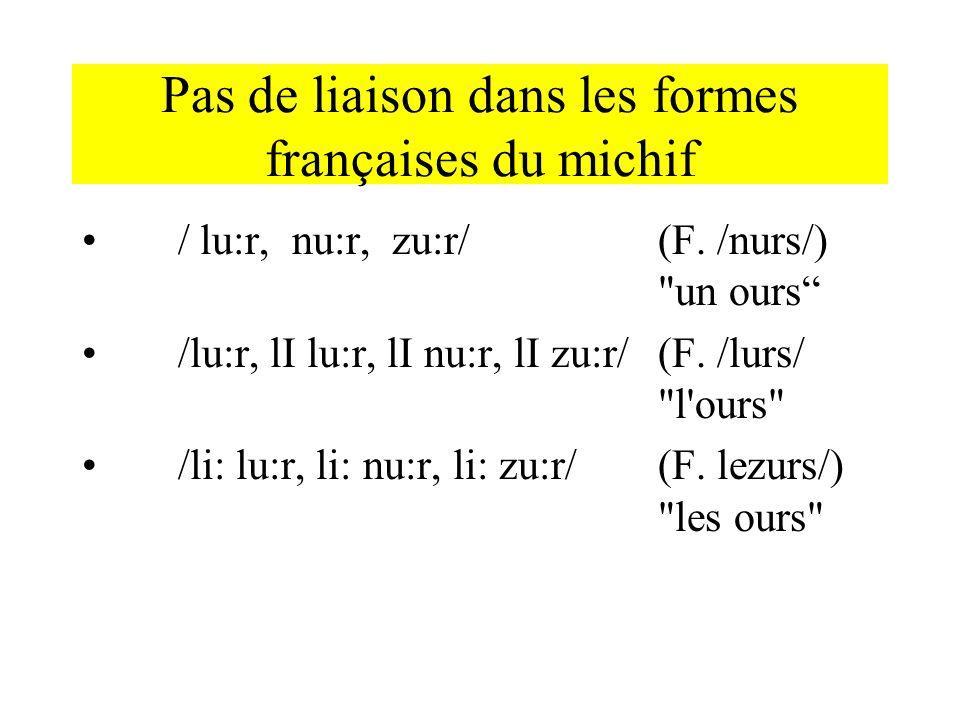 Pas de liaison dans les formes françaises du michif