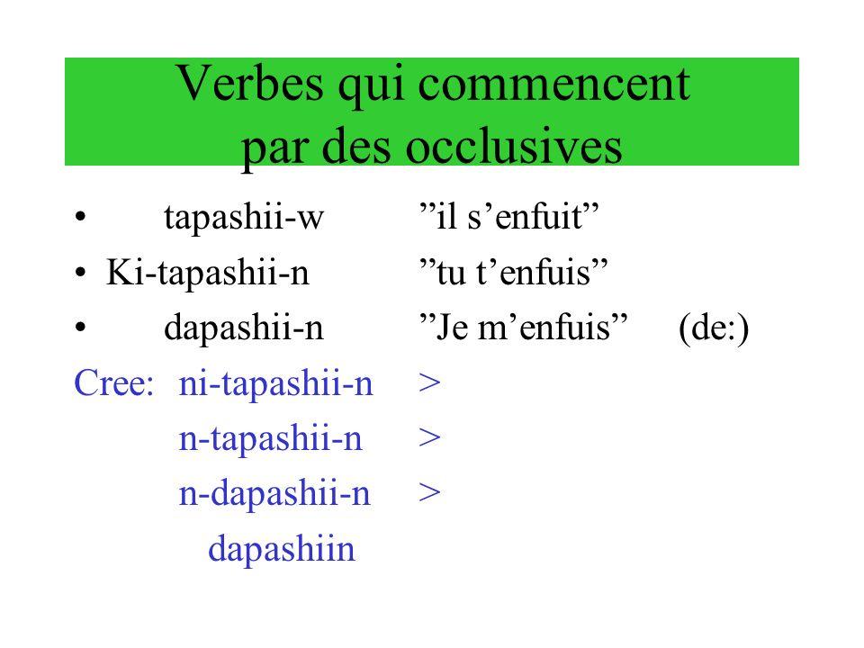 Verbes qui commencent par des occlusives