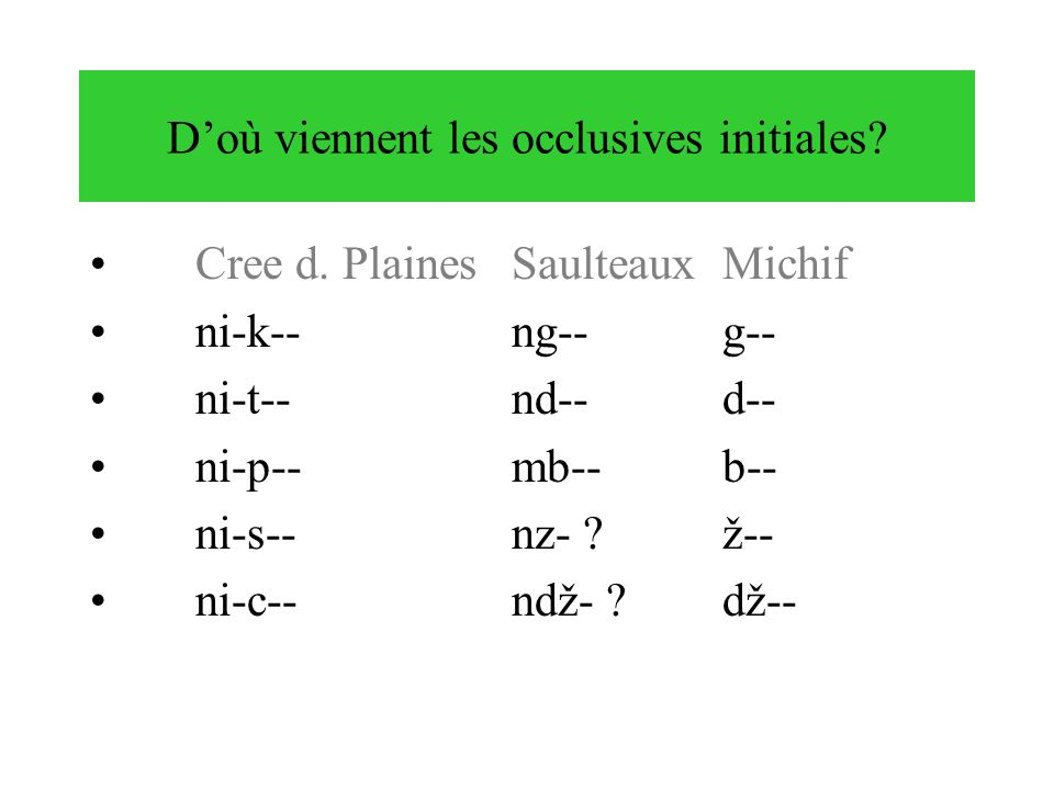 D'où viennent les occlusives initiales