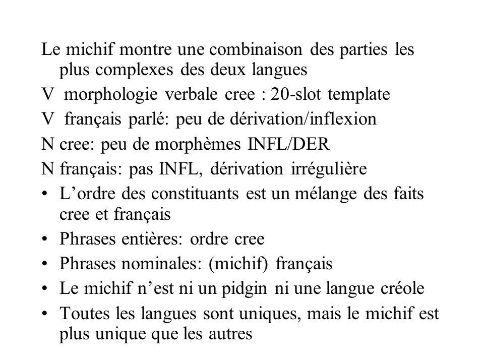 Le michif montre une combinaison des parties les plus complexes des deux langues