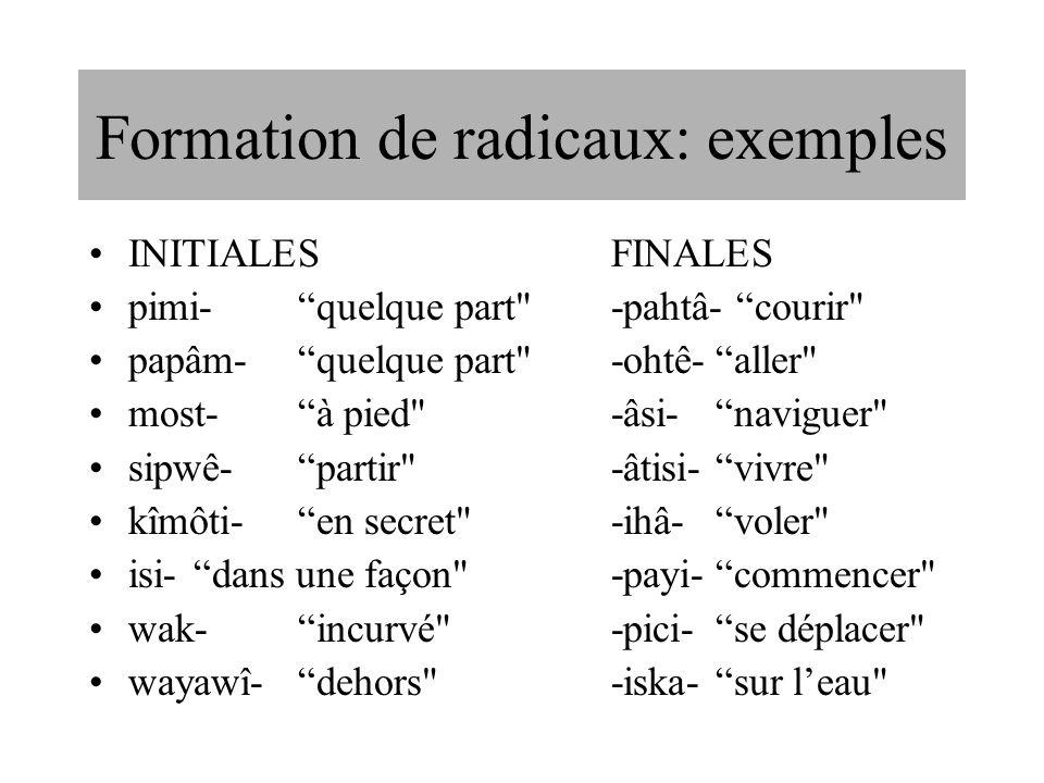 Formation de radicaux: exemples