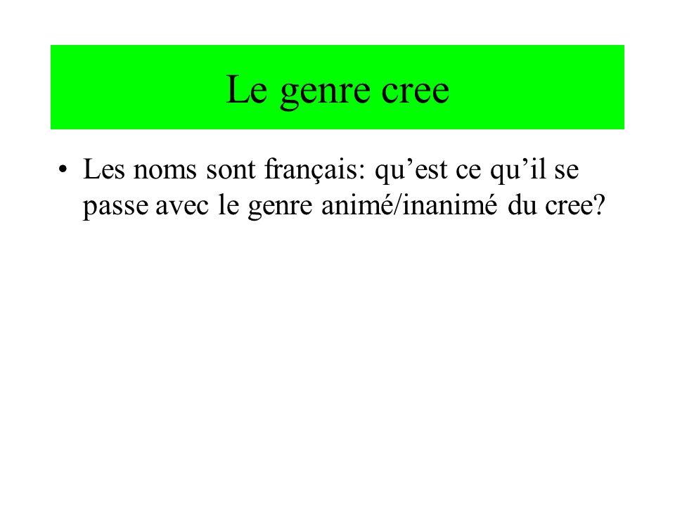 Le genre cree Les noms sont français: qu'est ce qu'il se passe avec le genre animé/inanimé du cree